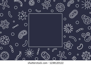 Human microbiota horizontal frame with empty space for text. Vector concept illustration in thin line style on dark background