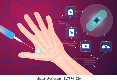 Human microchip implant in hand. NFC implant. Implanted RFID transponder. Vector illustration
