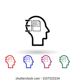 Human mind, dialogue multi color icon. Simple thin line, outline vector of human mind icons for ui and ux, website or mobile application