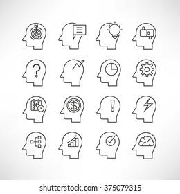 human mind icons, head brain icons, thinking icons