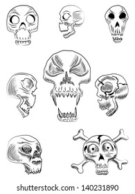 Human and monster skulls vector illustration