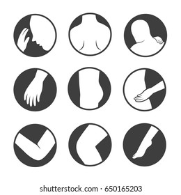 human muscle pain part of body flat icon set