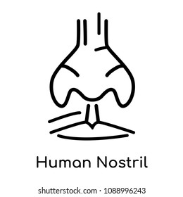 Human Nostril icon isolated on white background for your web and mobile app design , vector black sign and symbol , outline thin element, human nostril icon concept