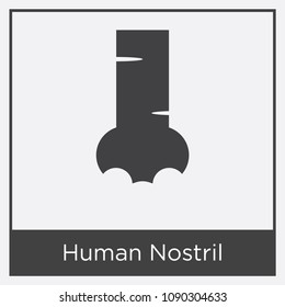 Human Nostril icon isolated on white background with gray frame, sign and symbol, human nostril vector iconic concept