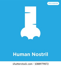 Human Nostril vector icon isolated on blue background, sign and symbol, human nostril vector iconic concept