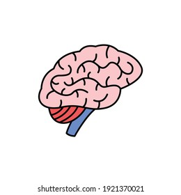 Human organ brain color line icon. Pictogram for web page, mobile app, promo. UI UX GUI design element. Editable stroke.