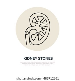 Human organ symbol, kidney stones problem. Modern vector line icons of urology. Linear medical pictogram for clinic, hospital.