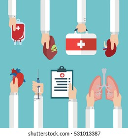 Human organ for transplantation concept with hands, medical banner