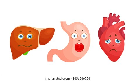 Human organs characters. Sad and frightened heart, liver and stomach. Vector illustration in cartoon style. Stickers to promote a healthy lifestyle.