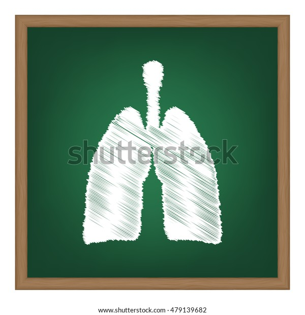 Human organs Lungs sign. Flat style black icon on white.