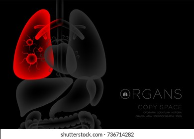 Human Organs X-ray set, Lung infection concept idea red color illustration isolated glow in the dark background, with Organ text icon and copy space
