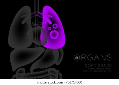 Human Organs X-ray set, Lung infection concept idea purple color illustration isolated glow in the dark background, with Organ text icon and copy space