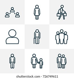 Human Outline Icons Set. Collection Of Couple, Pulling, Female And Other Elements. Also Includes Symbols Such As Oldster, Group, Child.