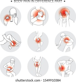 human pain in difference part cartoon vector for illustration black and white