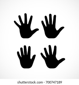 Human palm hand vector silhouette on white background