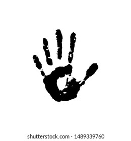 Human palm imprint. paint trace of fingers. Person, hand. Creative, art.  Black vector illustration isolated on white.