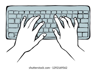 Human palm push on small keypad on white table desk backdrop. Black line drawn netbook pad. Www social data key icon sign sketch in modern art doodle style on space for text. Close up above top view