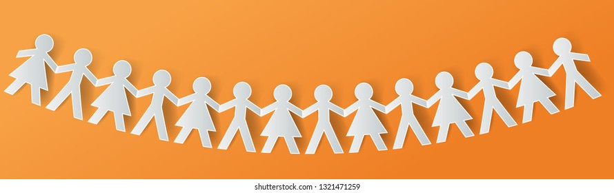 Human paper cut figures in a row .Teamwork concept graphic vector.