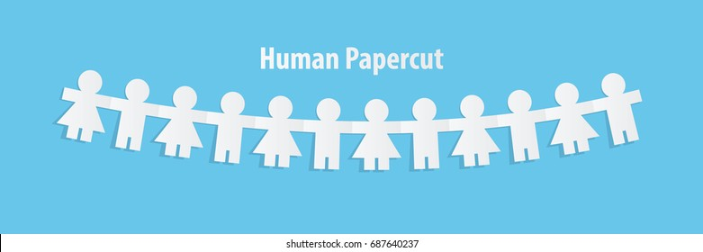 Human paper cut illustration vector on blue background. Teamwork concept.