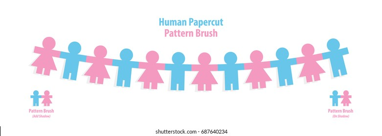Human paper cut pattern brush illustration vector on white background. Teamwork concept.