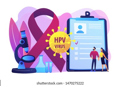 Human papillomavirus development. Disease symptom. Risk factors for HPV, HPV infection leads to cervical cancer, cervical cancer screening concept. Bright vibrant violet vector isolated illustration