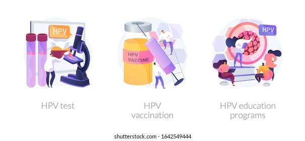 Human papillomavirus prevention, immunity development, antivirus creation. HPV test, HPV vaccination, HPV education programs metaphors. Vector isolated concept metaphor illustrations.