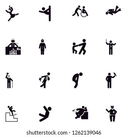 Human, people, men and women solid filled glyph icon set EPS 10 vector format. Transparent background.