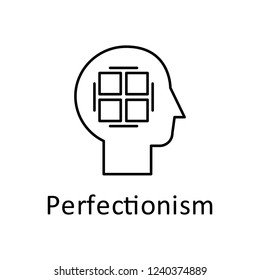 Human, perfectionist in mind icon. Element of human mind with name icon. Thin line icon for website design and development, app development. Premium icon