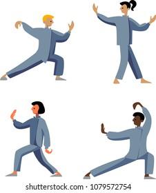 Human performing qigong or taijiquan exercises. Man practicing Tai Chi, qi gong. Vector illustration. Eastern gymnastics poses.