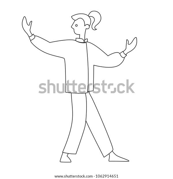 Human Performing Qigong Taijiquan Exercises Man Stock Vector