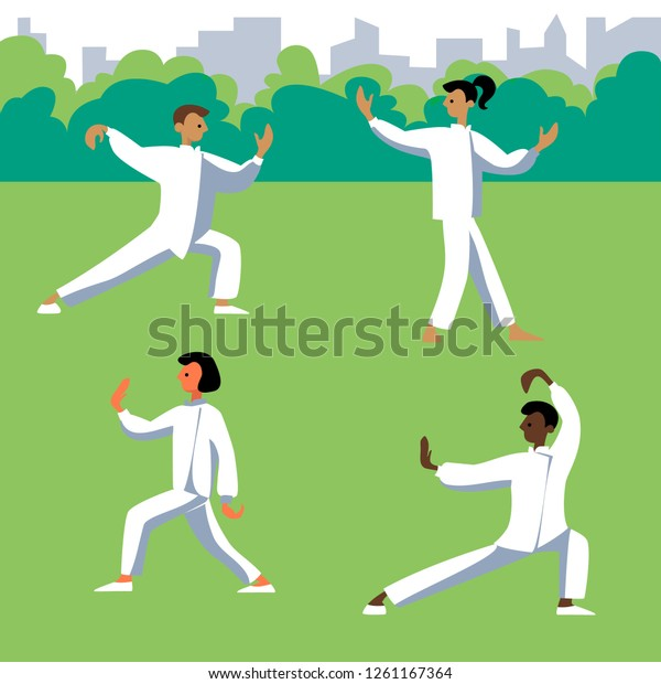 Human Performing Qigong Taijiquan Exercises Man Stock Vector