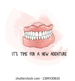 Human permanent acrylic denture, vector illustration.  False teeth and funny adventure quote.