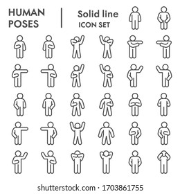 Human poses line icon set. Figure symbols collection or vector sketches. Basic body language signs for computer web, outline style pictogram package isolated on white background. Vector graphic