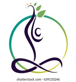 human practices yoga. infinity symbol
