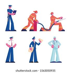 Human Professions Set. Male and Female Characters Wearing Uniform Isolated on White Background, Firefighters Firemen Doctor Policeman Pilot Mailman Occupation, Job. Cartoon Flat Vector Illustration