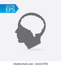 Human profile with brain vector icon. Idea symbol. Thinking concept in flat style for graphic design, Web site, UI. EPS