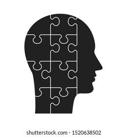 Human profile concept. Man head made up of puzzle pieces. Brainstorming, Idea and Inspiration. Flat vector cartoon illustration. Objects isolated on white background.