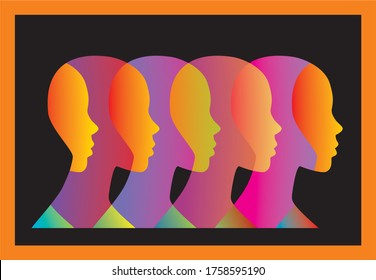 Human profile faces in abstract and overlapping design. Vector illustration. EPS10.