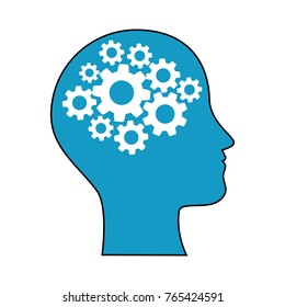 human profile with gears