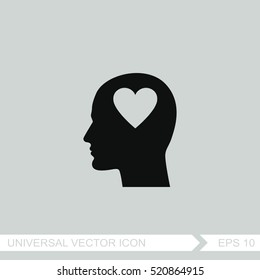 Human profile with heart vector icon.