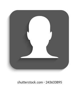 human profile picture - vector icon with shadow on a grey button