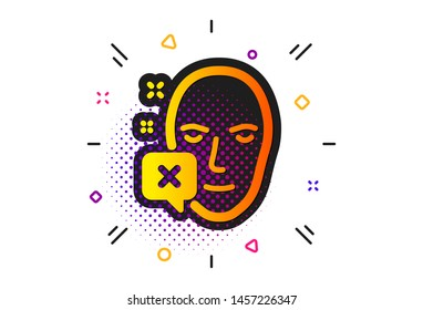 Human profile sign. Halftone circles pattern. Face declined icon. Facial identification error symbol. Classic flat face declined icon. Vector