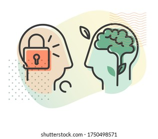 Human Psychology Fixed Vs Growth Mindset - Abstract Illustration as EPS 10 File
