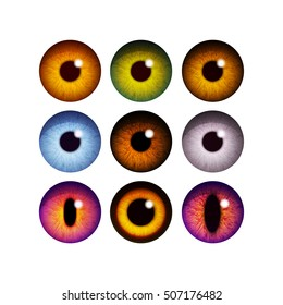 The human pupil of the eyeball.Different color eye lenses