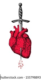 The human red heart is pierced with a dagger. Hand drawn vector illustration. Tattoo print.