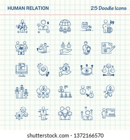 Human Relation 25 Doodle Icons. Hand Drawn Business Icon set
