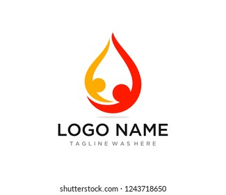 Human Relationship Drop Oil Reach On Goal or Health. Flat Color Professional Clean Design. Logo Template.