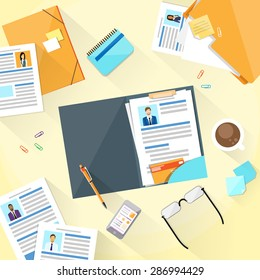 Human Resouce Working Place Desk Documents Curriculum Vitae Recruitment Candidate Job Position, CV Profile Business People to Hire Vector Illustration