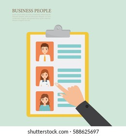 Human resource choose people concept to job. Business people character.