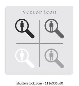 Human resource concept flat black and white vector icon.
